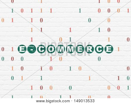 Business concept: Painted green text E-commerce on White Brick wall background with Binary Code