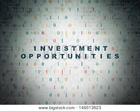 Finance concept: Painted blue text Investment Opportunities on Digital Data Paper background with Binary Code