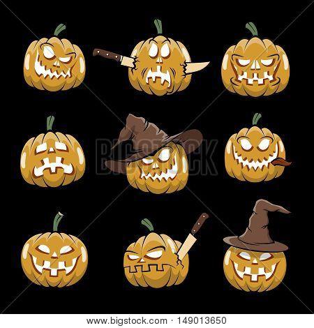 Jack-o'-lantern. Halloween pumpkin glowing from within. Trick or treat.