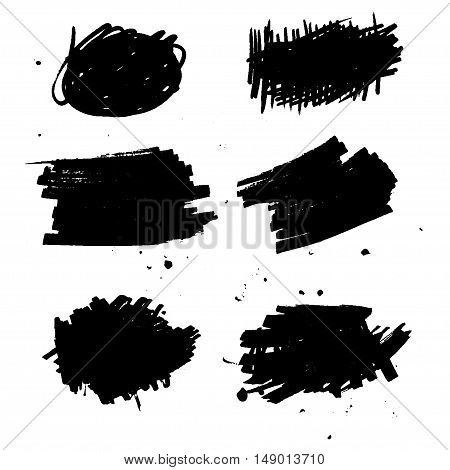 Set of black ink vector, grunge, dirty brush strokes. Abstract texture
