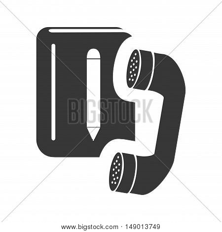 directory notebook with telephone headset icon silhouette. vector illustration