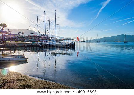 Beautiful blue sea scape with ships Marmaris