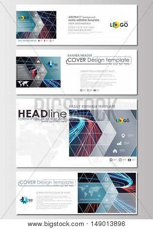 Social media and email headers set, modern banners. Business templates. Cover design template, easy editable, abstract flat layout in popular sizes. Abstract lines background with color glowing neon streams, motion design vector.