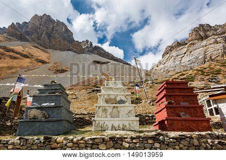 Three stone stupas under Thorong La pas. Annapurna circuit trek.