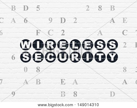 Privacy concept: Painted black text Wireless Security on White Brick wall background with Hexadecimal Code