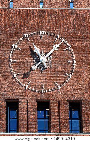 large clock on City Hall (Radhuset) Oslo Norway