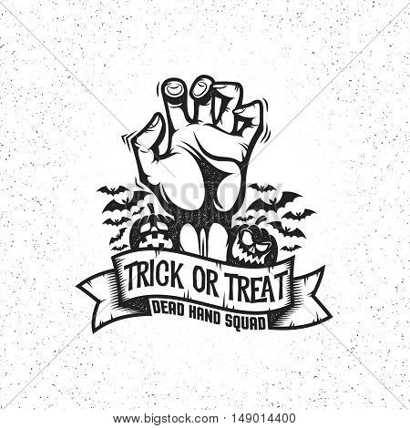 Gnarled dead man's hand sticking up. Halloween logo in vintage retro style. Layered vector illustration.