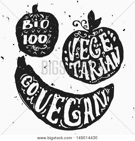 Vector illustration with apple silhouette and unique lettering. Healthy food, farm, fresh, vegan, natural, product, bio. Vegan typographic print. Hand draw Eco poster