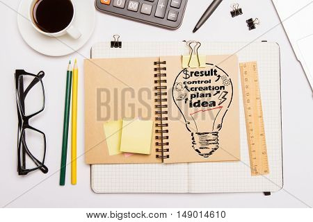 Top view of white office desktop with creative light bulb sketch in notepad glasses coffee cup and other items. Business idea concept
