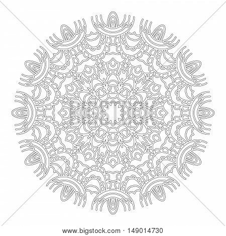 vector black and white round geometric abstract floral lacy mandala - adult coloring book page