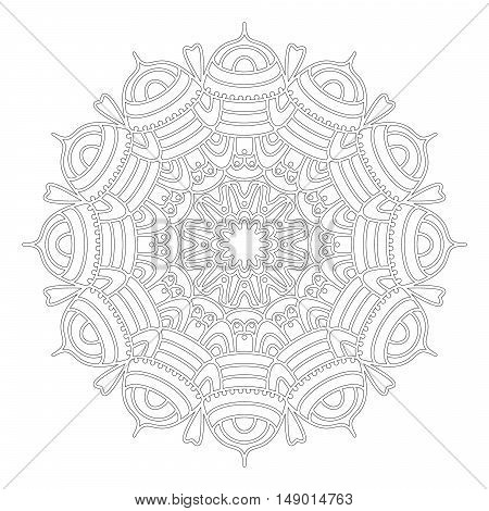 vector black and white round geometric lacy abstract floral mandala - adult coloring book page