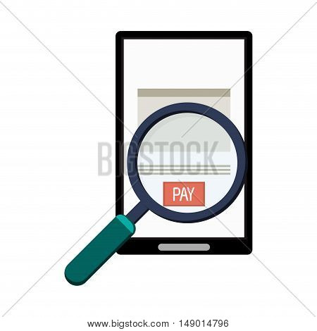 flat design cellphone and magnifying glass icon vector illustration