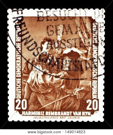 GERMAN DEMOCRATIC REPUBLIC - CIRCA 1955: Cancelled postage stamp printed by German Democratic Republic that shows painting by Rembrandt.
