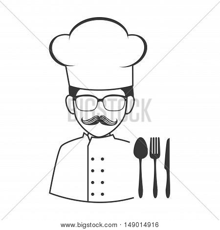 avatar food chef man with cutlery icon silhouette. vector illustration