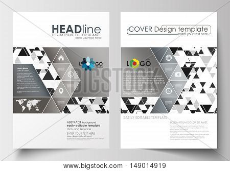 Business templates for brochure, magazine, flyer, booklet or annual report. Cover design template, easy editable blank, abstract flat layout in A4 size. Abstract triangle design background, modern gray color polygonal vector.