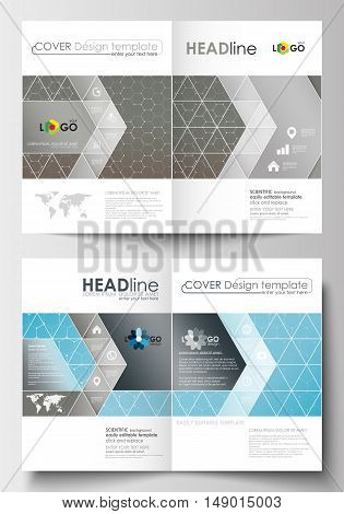 Business templates for brochure, magazine, flyer, booklet or annual report. Cover design template, easy editable blank, abstract flat layout in A4 size. Scientific medical research, chemistry pattern, hexagonal design molecule structure, science vector ba