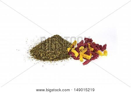 pasta and spices on a white background
