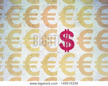Currency concept: rows of Painted yellow euro icons around red dollar icon on Digital Data Paper background