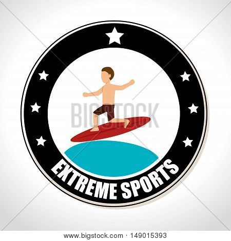 surf extreme sports Badge Stamp. colorful design. vector illustration