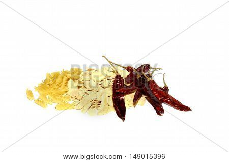 pasta with pepper and spices on a white background