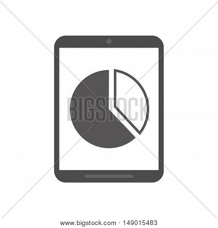 flat design cellphone and graph chart icon vector illustration
