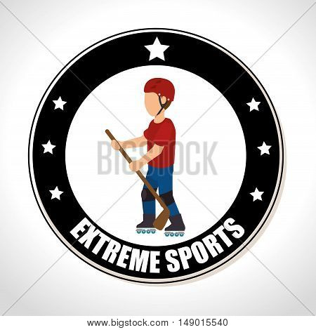 hockey extreme sports Badge Stamp. colorful design. vector illustration
