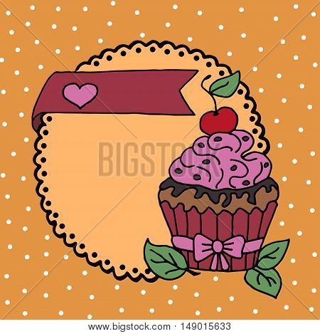 High quality original illustration of cake with cherry and heart