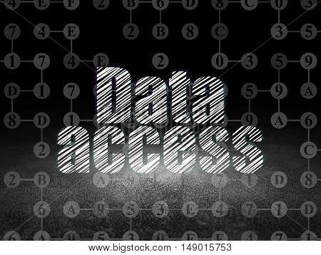 Data concept: Glowing text Data Access in grunge dark room with Dirty Floor, black background with Scheme Of Hexadecimal Code