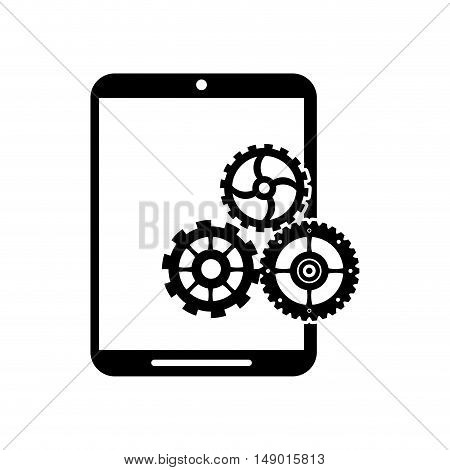 flat design cellphone and gear  icon vector illustration