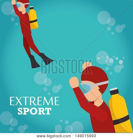 man training diving extreme water sport. colorful design. vector illustration