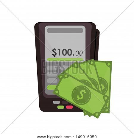 flat design dataphone and money  icon vector illustration