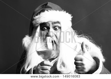 Surprised Christmas Man With Wine Glass