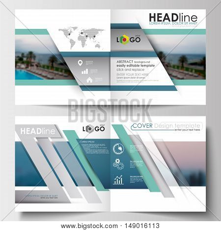 Business templates for square design brochure, magazine, flyer, booklet or annual report. Leaflet cover, abstract flat style travel decoration layout, easy editable vector template, colorful blurred natural landscape