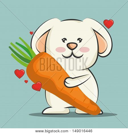 cute rabbit animal with orange carrot vegetable and red hearts. colorful design. vector illustration