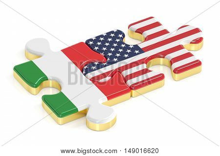 Italy and USA puzzles from flags 3D rendering