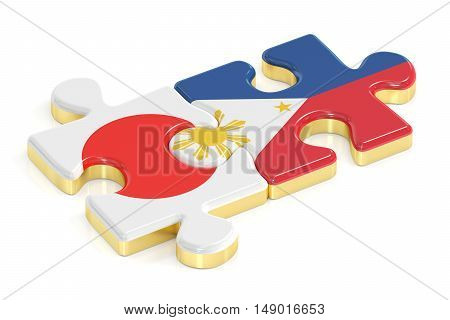 Japan and Philippines puzzles from flags 3D rendering