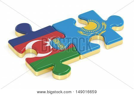Kazakhstan and Azerbaijan puzzles from flags, 3D rendering