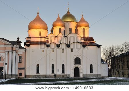 Saint Sophia cathedral or Cathedral of Holy Wisdom of God in Veliky Novgorod Russia. Sunset winter architecture landscape in Veliky Novgorod Russia