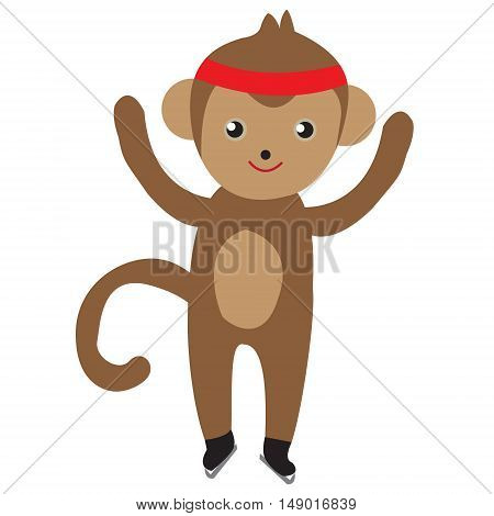 Monkey skating cute figure skating vector illustration