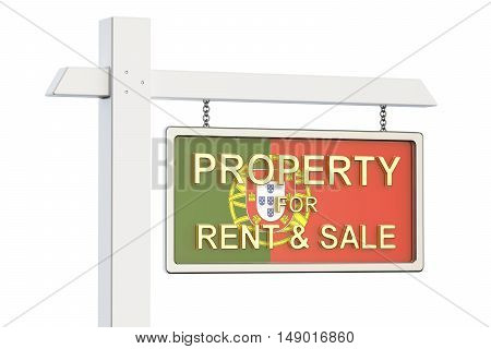 Property for sale and rent in Portugal concept. Real Estate Sign 3D rendering isolated on white background