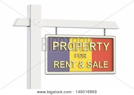 Property for sale and rent in Romania concept. Real Estate Sign 3D rendering isolated on white background