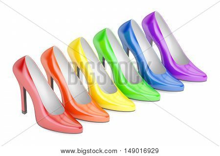 row from colored high heel shoes 3D rendering isolated on white background