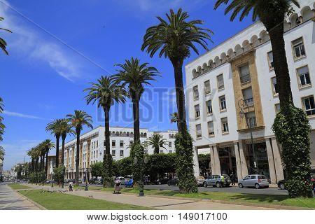 Modern Street in Rabat, Capital of Morocco