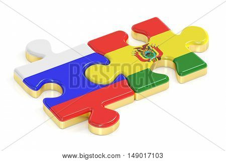 Russia and Bolivia puzzles from flags 3D rendering