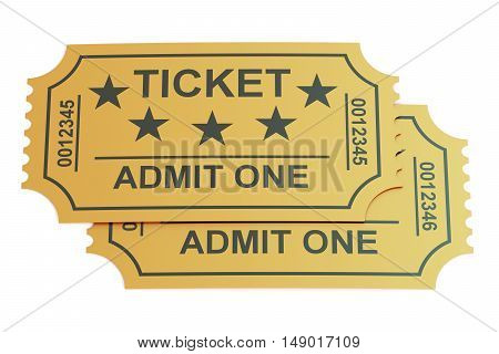 two tickets 3D rendering isolated on white background
