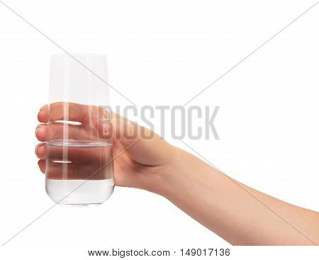 Female Hand Holding Clean Drinking Glass With Water