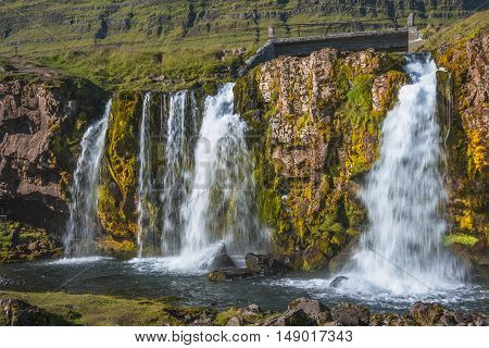 Wonderful Waterfal Kirkjufellsfossl In Iceland In Autumn Colors