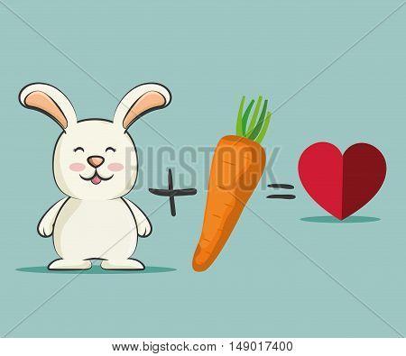 cute rabbit animal loving orange carrots vegetable. colorful design. vector illustration