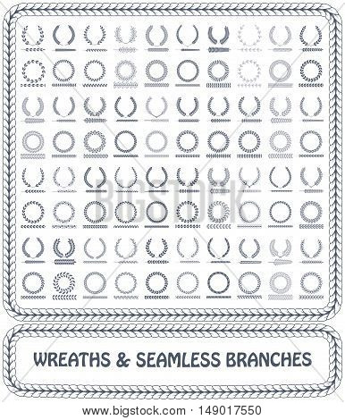 Wreaths, branches and seamless foliage patterns. Vector illustration.