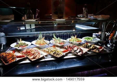 Buffet Catering Of Various Bowl With Salad Food